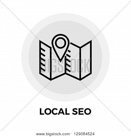 Local SEO icon vector. Flat icon isolated on the white background. Editable EPS file. Vector illustration.