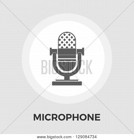Microphone icon vector. Flat icon isolated on the white background. Editable EPS file. Vector illustration.