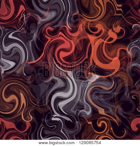 Seamless pattern with colorful transparent grunge swirled chaotic stripes on dark background