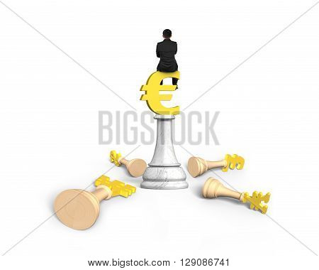 Man sitting on Euro symbol of money chess isolated on white background. 3D Rendering