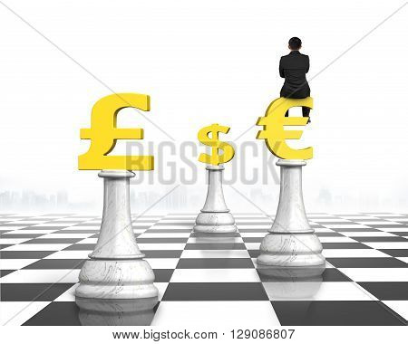 Man sitting on Euro symbol of money chess on chessboard with white background, 3D Rendering.