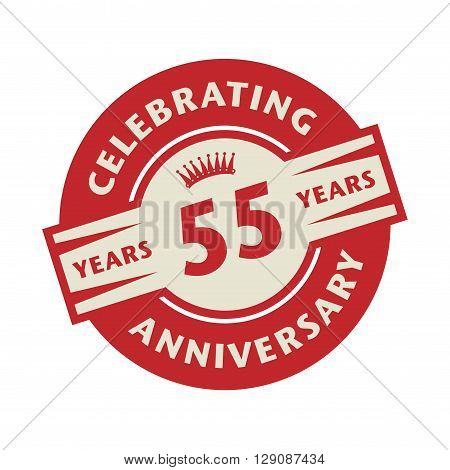 Stamp or label with the text Celebrating 55 years anniversary, vector illustration