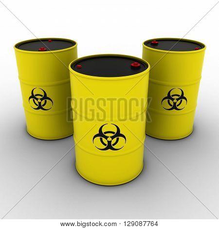 Yellow and black Biohazard Barrels Background 3D Illustration