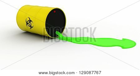 Toxic Waste Leaking Out of Biohazard Barrel 3D Illustration