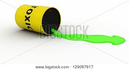 Toxic Waste Leaking Out Of Barrel 3D Illustration