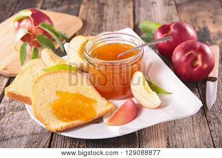 peach jam and bread for breakfast