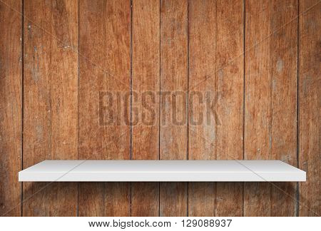 Empty shelf on old wooden background, stock photo