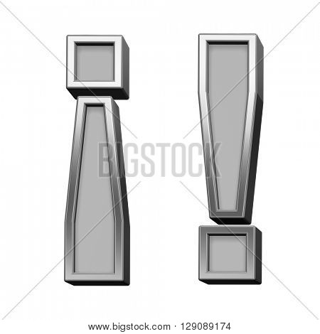 Exclamation mark from gray with silver frame alphabet set, isolated on white. 3D illustration.