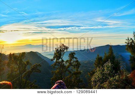 sunrise in mountain bromo, located in east java, indonesia