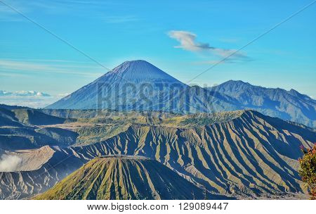 morning landscape of mountain bromo, located in east java, indonesia