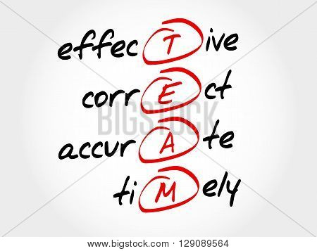 Team - Effective, Correct, Accurate, Timely