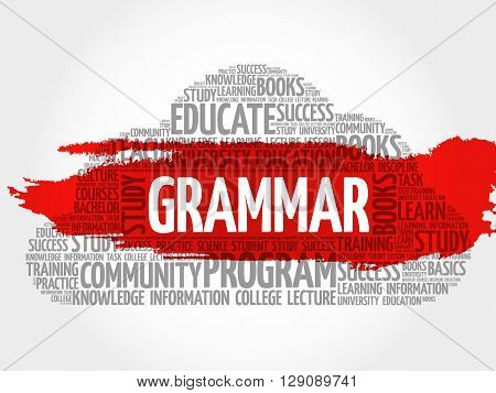 Grammar word cloud education concept, presentation background
