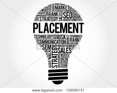 PLACEMENT bulb word cloud business concept, presentation background