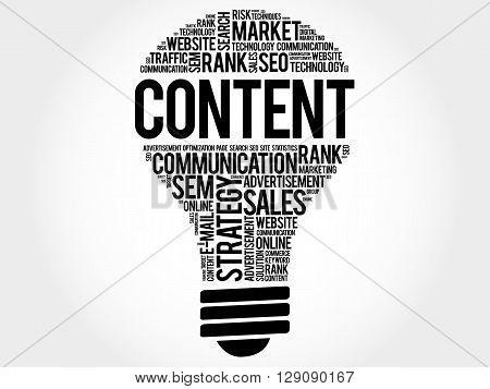 CONTENT bulb word cloud business concept, presentation background