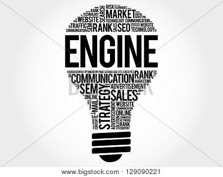 ENGINE bulb word cloud business concept, presentation background