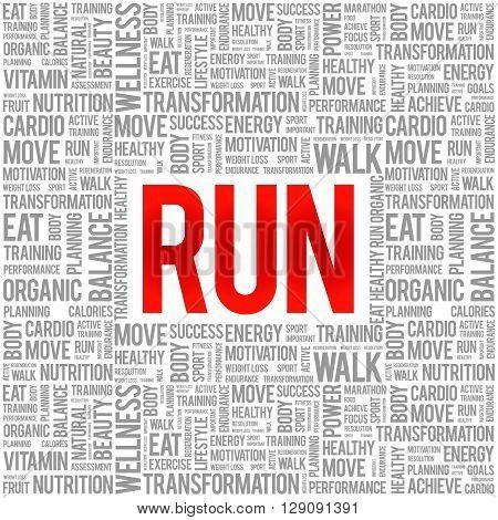 RUN word cloud background health concept, presentation background