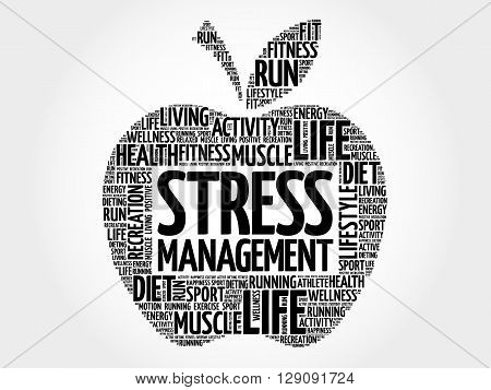 Stress Management apple word cloud health concept
