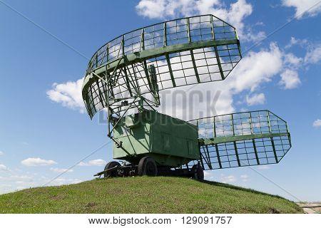 military equipment radio. The radars in the blue sky.
