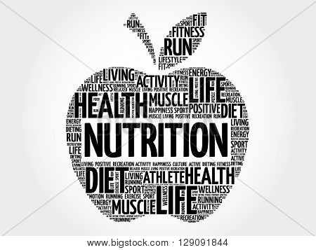 Nutrition apple word cloud health concept, presentation background