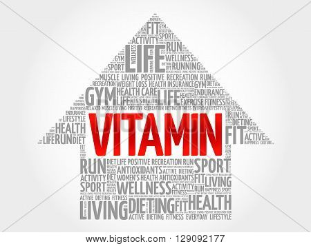 VITAMIN arrow word cloud health concept, presentation background