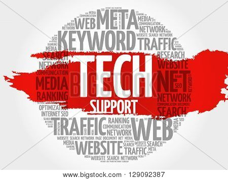 Tech support word cloud business concept, presentation background