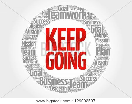 Keep Going Circle Word Cloud