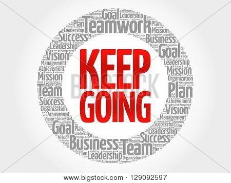 Keep Going Circle Word Cloud
