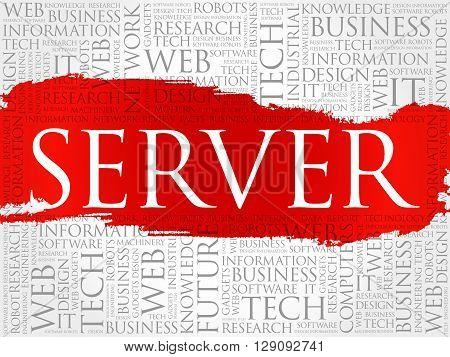 Server word cloud collage concept, presentation background