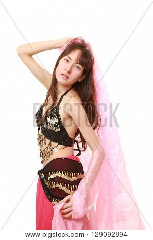 portrait of belly dancer on white background