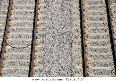 Above view at rails laid on concrete railway sleepers