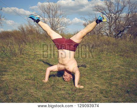 Fat Man Doing Yoga