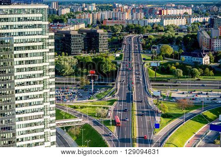 Bratislava cityscape view on the residential district with modern office building and roads from the modern bridge in Slovakia ** Note: Soft Focus at 100%, best at smaller sizes