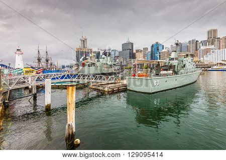 Sydney Australia - November 11 2014: War ship HMAS Vampire submarine HMAS Onslow and patrol boat HMAS Advance in the Australian Maritime Museum in Cockle Bay Darling Harbour Sydney New South Wales Australia.