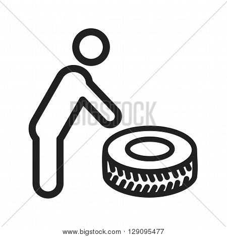 Tyre, puncture, alloy icon vector image. Can also be used for car servicing. Suitable for use on web apps, mobile apps and print media.