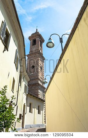 Alba,Piedmont,Italy,Europe - May 3, 2016 : View of the Campanile of San Giuseppe Church from via Vernazza