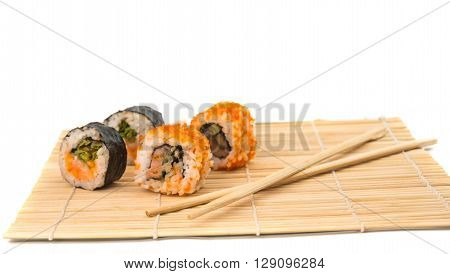 sushi isolated on white background, rice, roll,