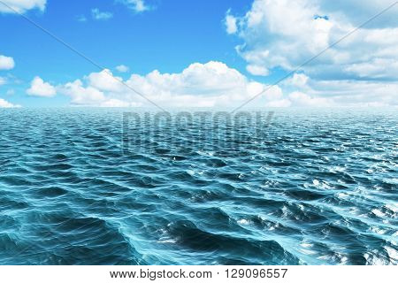 Blue ocean against scenic view of blue sky