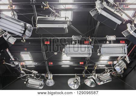 Television studio broadcast (tv) with lighting  .