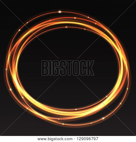 Vector trace of light on black background. Flash of glowing sparks, glowing line of flight, magical glowing stars. Blurred lines neon effect, glow dust. Abstract the vortex trail, the lights in motion