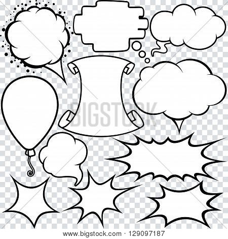 Blank Empty White Speech Bubbles. Vector Set