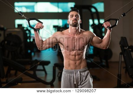 Young Bodybuilder Exercising Biceps On Cable Machine
