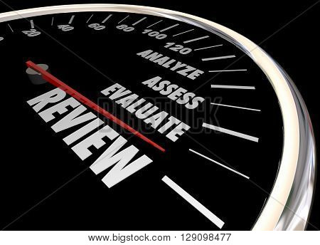 Review Analyze Evaluate Assess Speedometer 3d Illustration