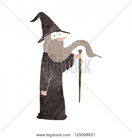 freehand retro cartoon wizard