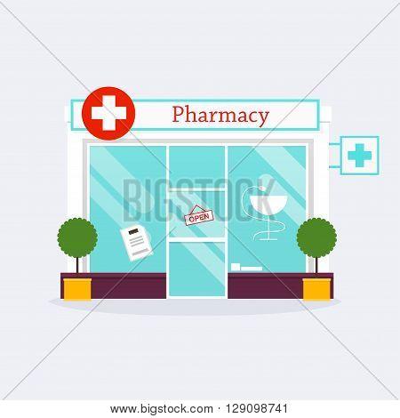 Pharmacy Drugstore Shop Facade. Flat Style Vector Illustration.