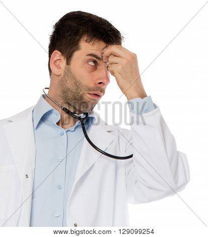 Humorous Portrait Of A Young Depressed Surgeon With A Stethoscope