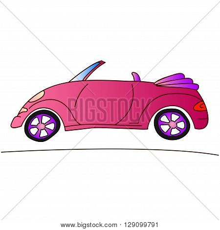 red lady car, travelling on cabriolet, vector illustration