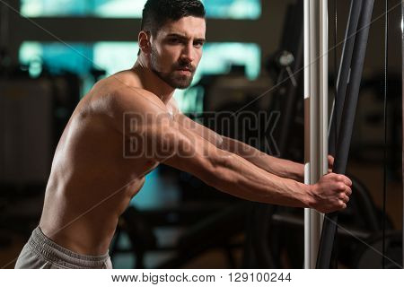 Portrait Of A Handsome Man Resting At Gym