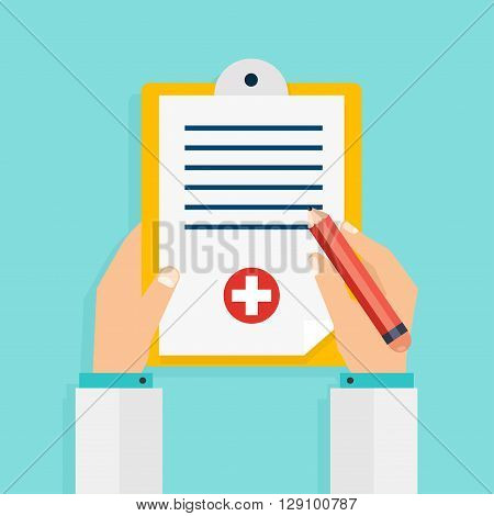 Clipboard in his hand doctor. Hand holding clipboard with checklist and pen for medical report presentation web page banner. Vector modern creative flat design. Vector illustration.