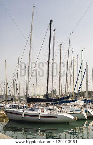Marina with yachts in Genoa in Italy.