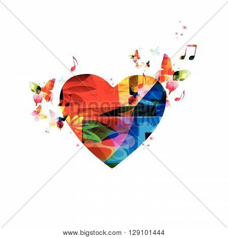 Vector illustration of colorful heart with butterflies